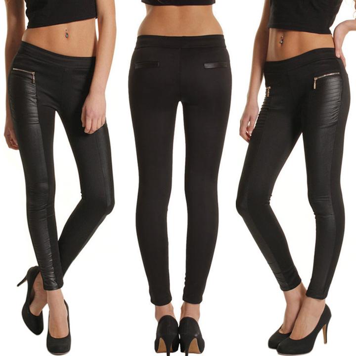 6882a1bb003 Dámské kalhoty LEGÍNY imitace kůže 736417 černá S M L