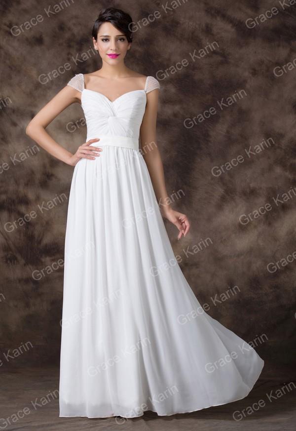87d1de150f98 GRACE KARIN Svatební ŠATY dlouhé GK6174 bílá S   36
