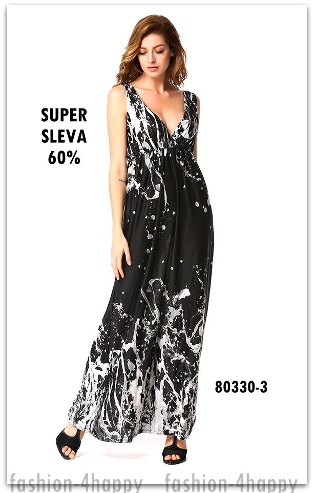 Letní dámské ŠATY dlouhé 80330-3 černá M   38 SLEVA 60%  faa692f1d7