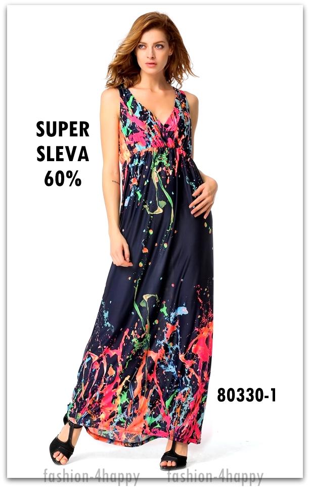 Letní dámské ŠATY dlouhé 80330-1 modrá S M SLEVA 60%  40bfcf7b4c