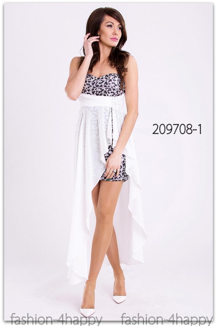 43ec6366cbb0 Luxusní plesové ŠATY MINI s vlečkou 209708-1 bílá XS S