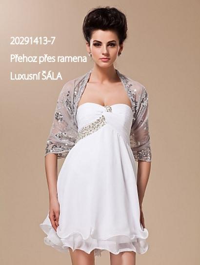 Přehoz přes ramena ŠÁLA luxusní s třásněmi 20291413-7 stříbrná 39dd833397