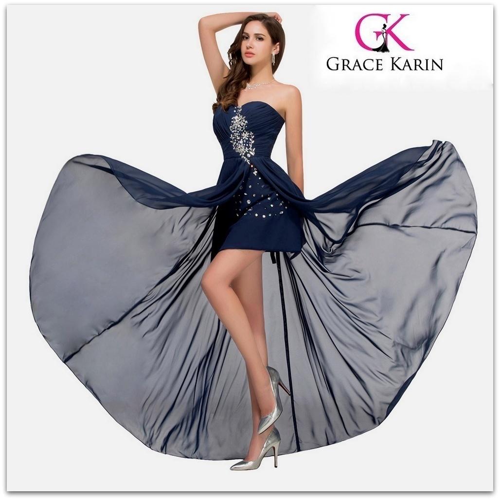 Luxusní společenské ŠATY GRACE KARIN CL3443 modrá S   36 29e54cd33c