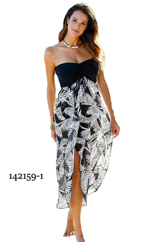 71901fa686a Plážové letní šaty 142159-1 černá   vzor M   L