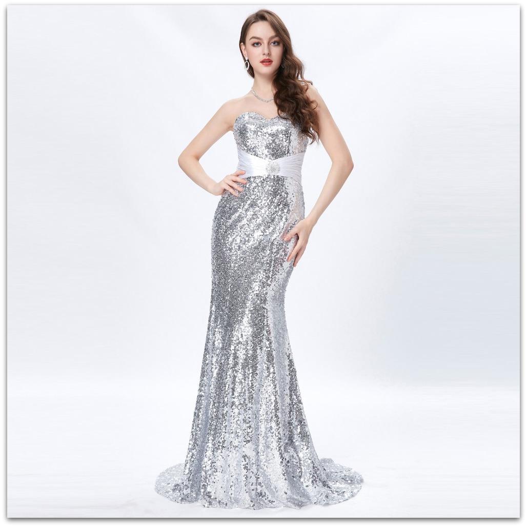 10b2a4d0819b Luxusní společenské ŠATY dlouhé s vlečkou GRACE KARIN GK4409-4 stříbrná S    36