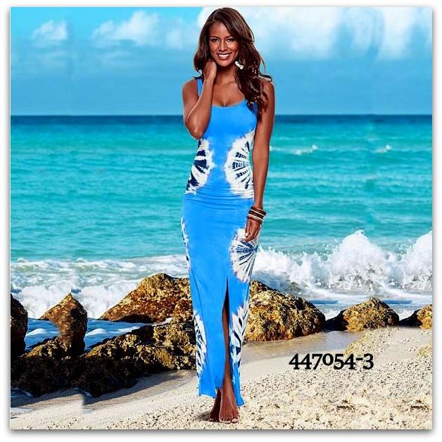 Letní dámské ŠATY dlouhé BATIKA 447054-3 modrá L 033653700a
