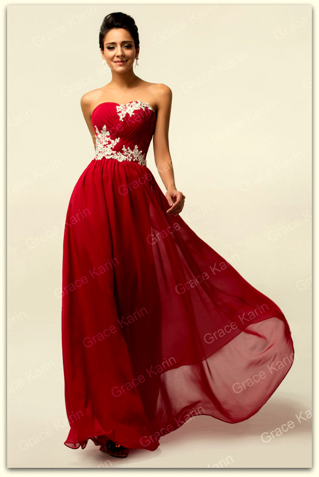 Luxusní plesové šaty GRACE KARIN® dlouhé GK 6107 vínová XXS - 3XL (SKLADEM  d93020c31d