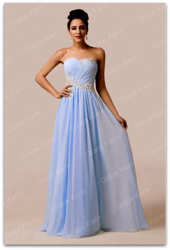 Luxusní plesové šaty GRACE KARIN® dlouhé GK 6107-3 modrá XXS-3XL ( 315d59308e2