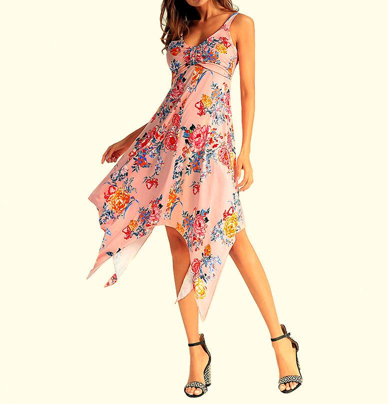 Dámské ŠATY letní MIDI asymetrické květy 6060142-3 růžová XXL 3f15818204