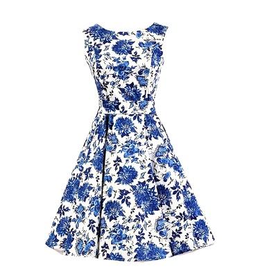 Dámské RETRO ŠATY MINI kolová sukně 80201273-1 bílá s modrými květy M 83a80b625b
