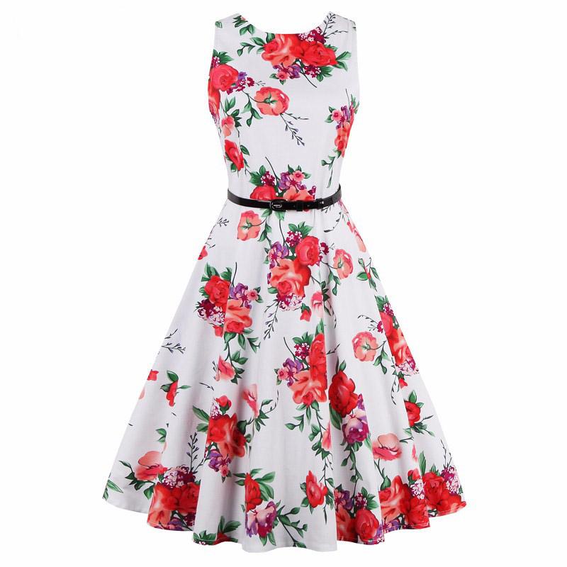 Dámské RETRO ŠATY MINI kolová sukně 80201278-1 bílá s květy L XL f9bc9c272b