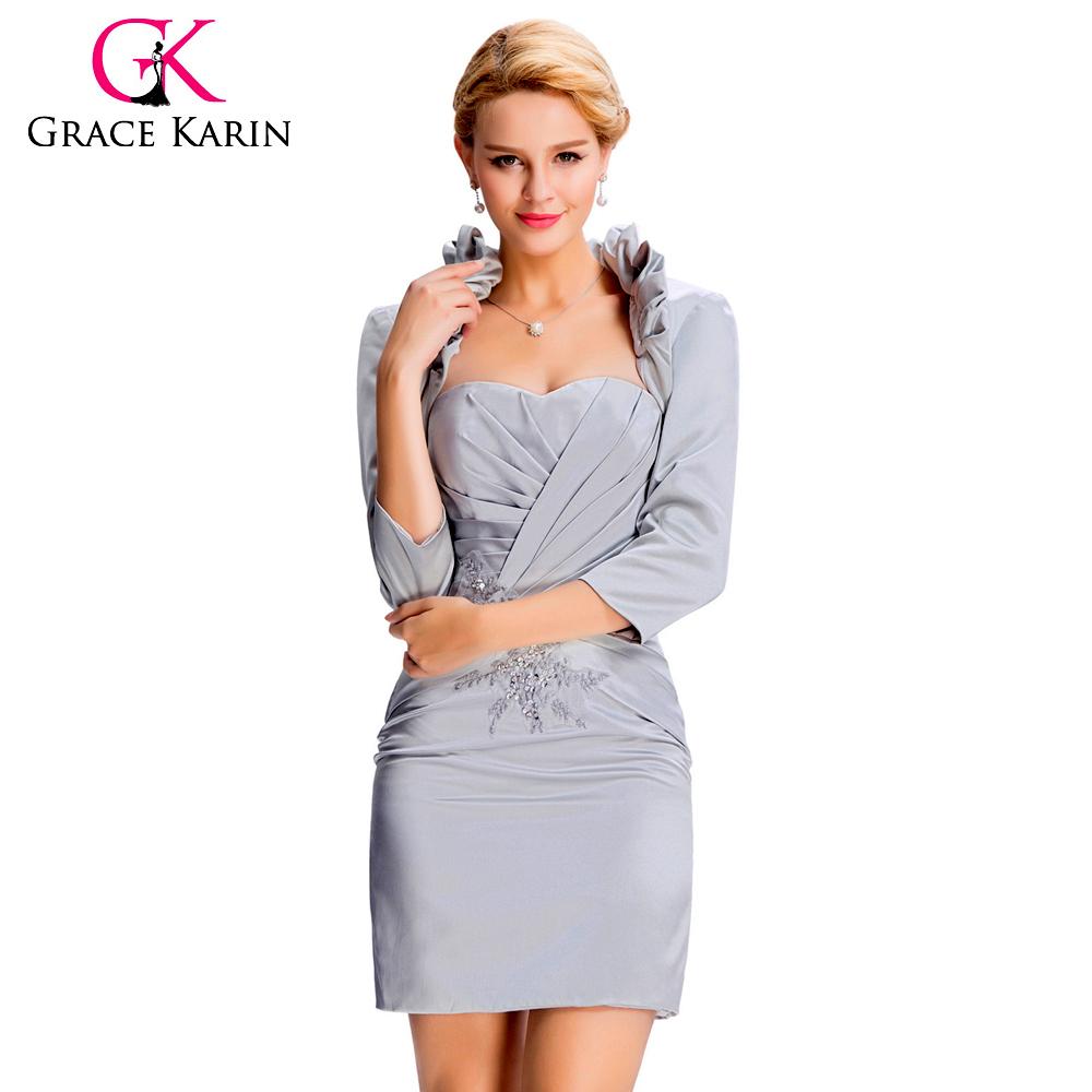 7338774ce768 GRACE KARIN Luxusní společenské ŠATY a bolerko GK3826 stříbrná