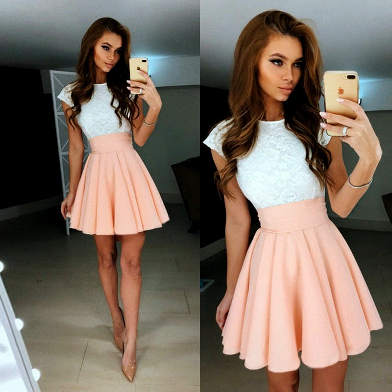 F4H Letní šaty s krajkou a páskem 801408-6 bílá růžová 3d56ae0d8b4