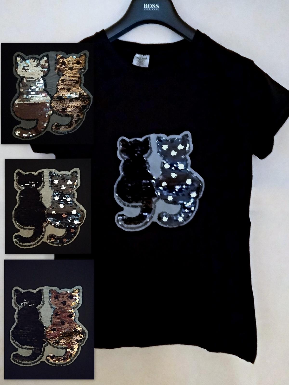 Dámské tričko Kočka s oboustrannými pajetkami flitry 201809-2 černá M 313788e15f