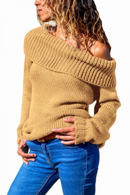 Dámský pletený svetr ohrnovací rolák 1279121-16 hnědá L 7c66b23b5b