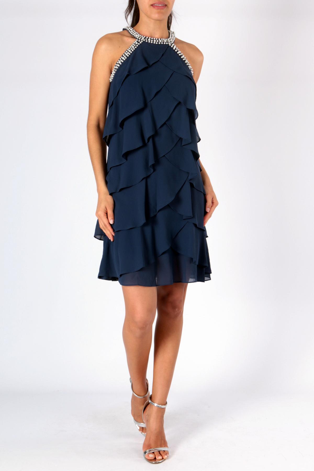819d13dccfb0 Luxusní společenské dámské šaty krátké 3308350-5 tmavě modrá XL