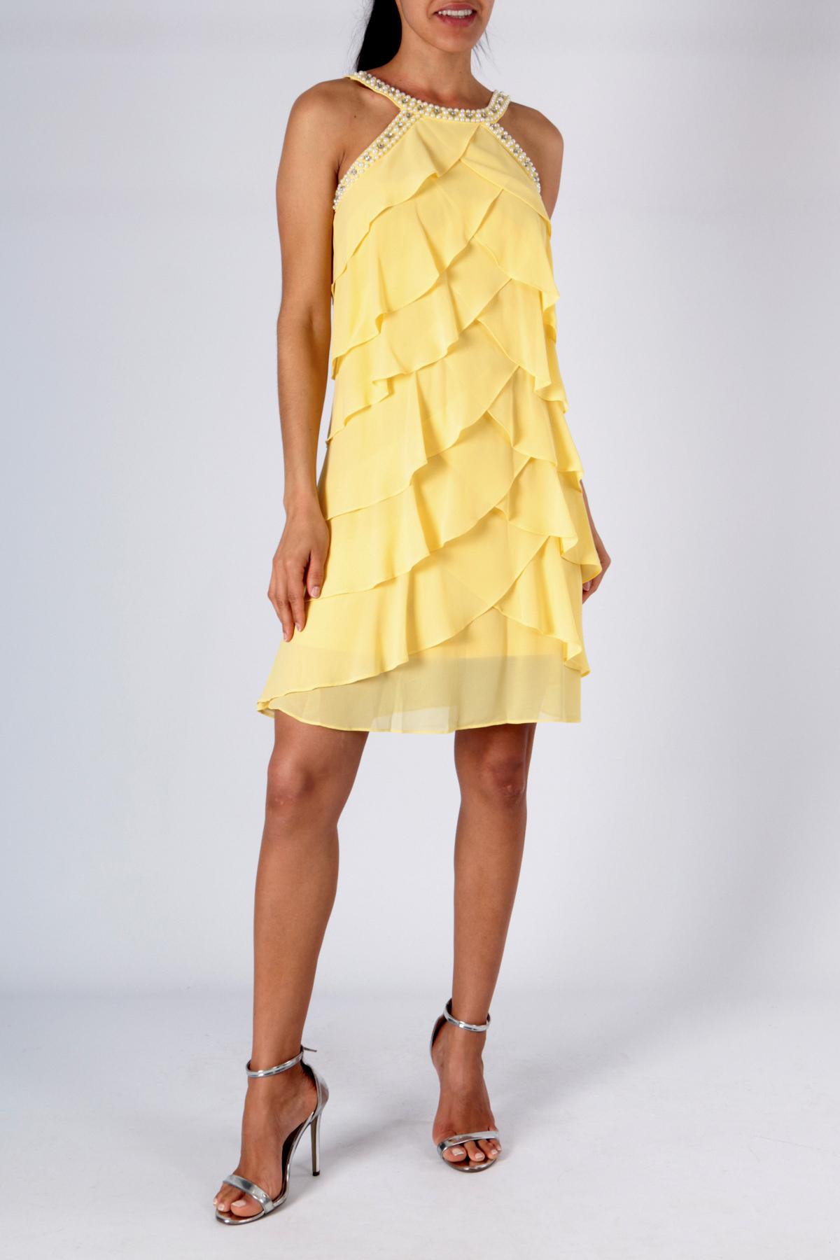 aa5a82f1244 Luxusní společenské dámské šaty krátké 3308350-7 žlutá S M L XL
