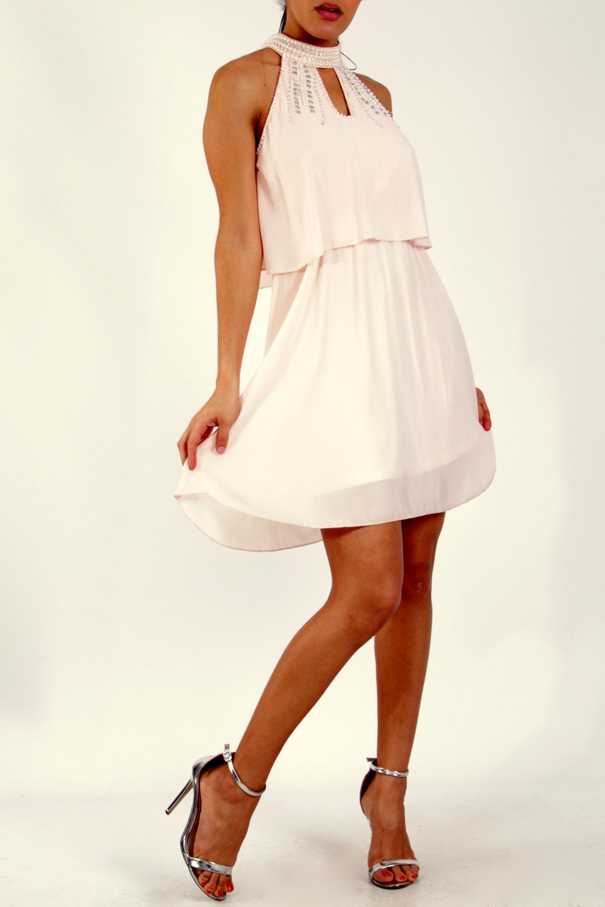 Luxusní společenské dámské šaty krátké 330846-5 růžová S M L 0c8c05b2179