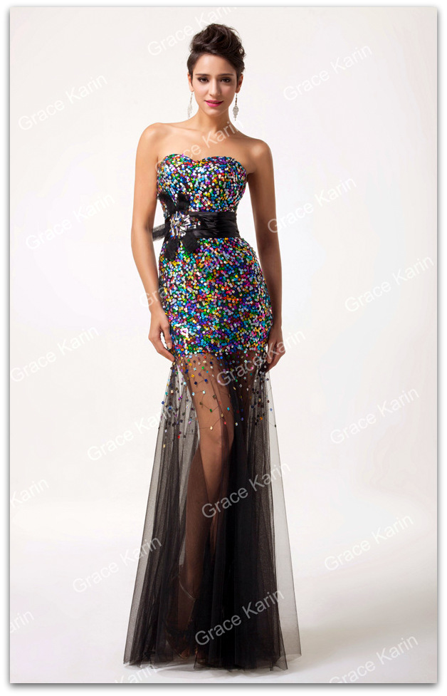 a500cee29814 ... Luxusní plesové šaty GRACE KARIN® dlouhé GK6026-2 černá L 40