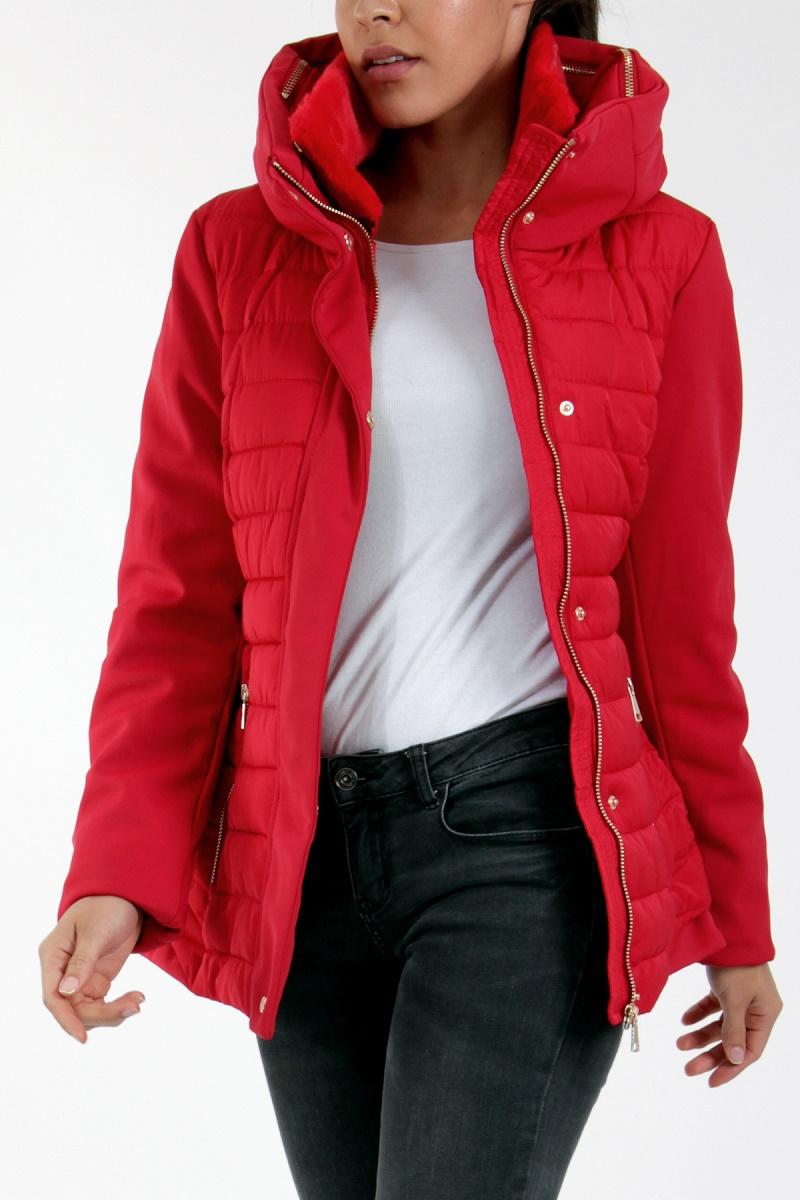 0c98cac759a4 ... Luxusní dámská prošívaná bunda s kapucí a širokým límcem 2201987-3  červená S M