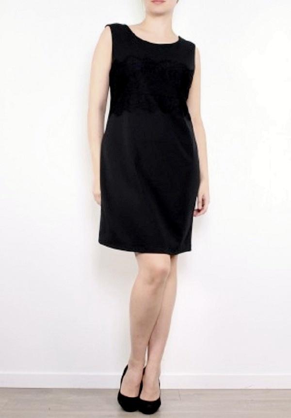5e3b493e715d ... Pouzdrové šaty MIDI s krajkou pro moletky 3315215-2 černá 48