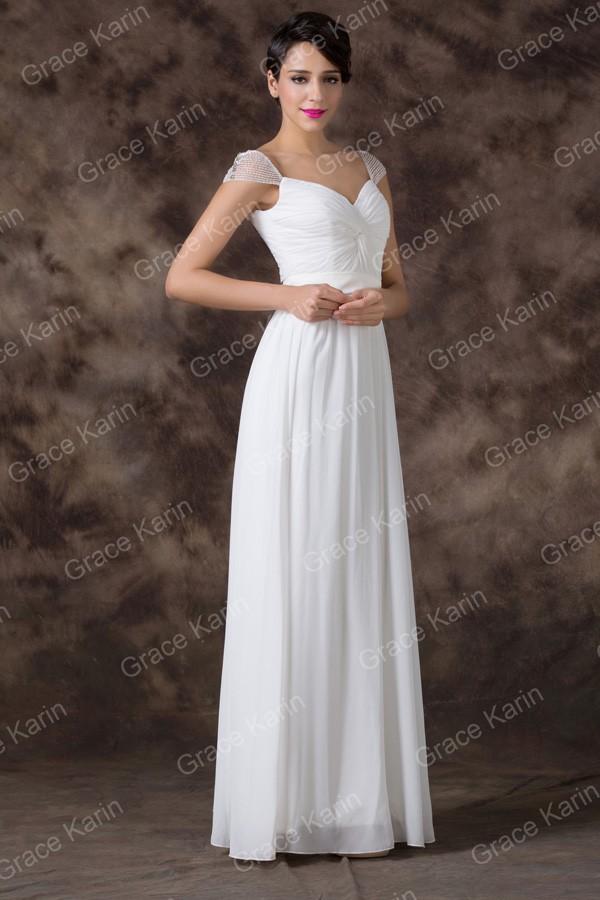 3d6d9668e03 GRACE KARIN Svatební ŠATY dlouhé GK6174 bílá S   36