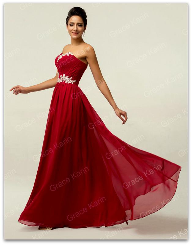 Luxusní plesové šaty GRACE KARIN dlouhé GK 6107 vínová XL 364710184e0
