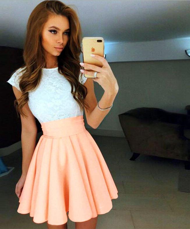Letní šaty s krajkou a páskem 801408-6 bílá   růžová XL 5064b1ada27