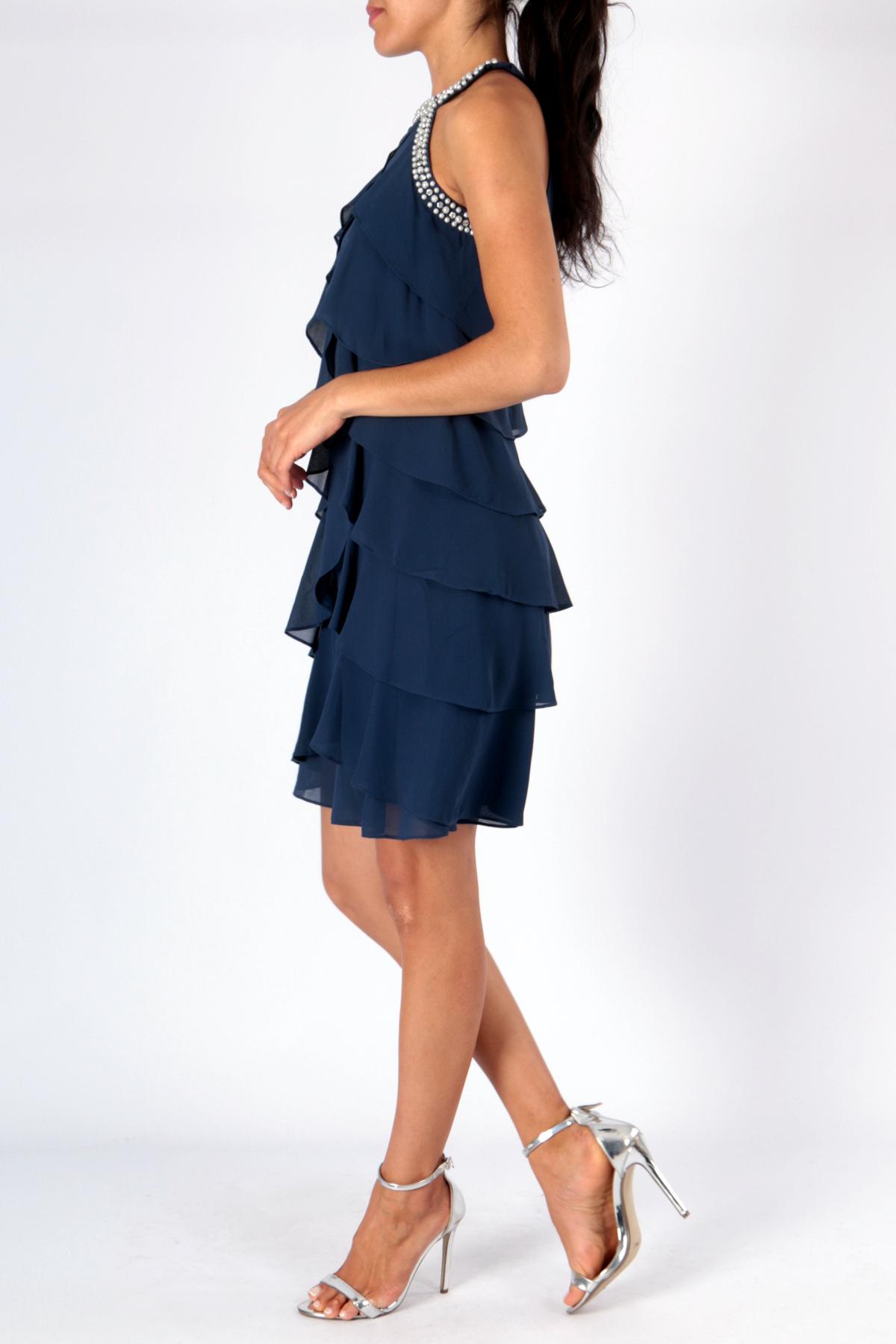 523222ba83d Luxusní společenské dámské šaty krátké 3308350-5 tmavě modrá