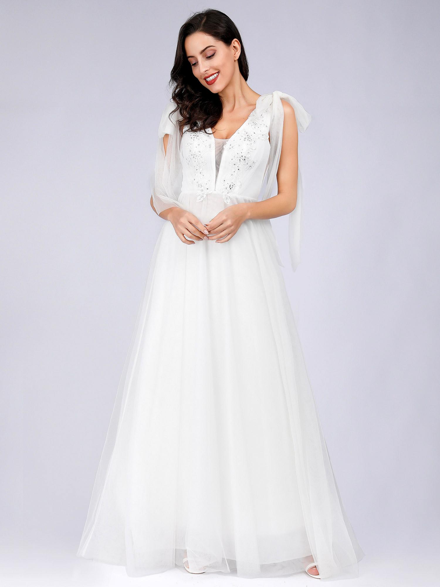 MEID ANNA Svatební dlouhé ŠATY EP07836-1 bílá XS /S / M / L / XL - dodání do 10-15 dnů