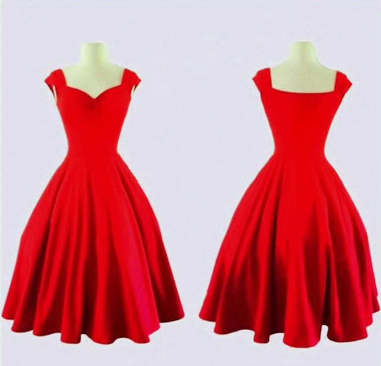 5ee2bcb19 Dámské RETRO ŠATY AUDREY kolová sukně 80200153-3 červená S / 36