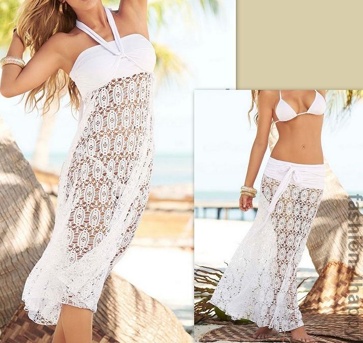 52e7d14ccb61 Plážové letní šaty   sukně krajkové 141102-1 bílá M L