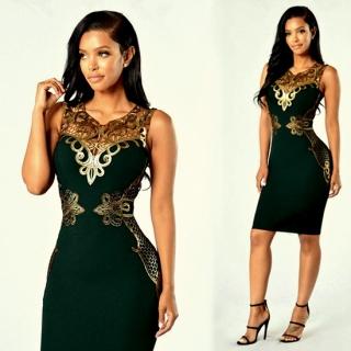 Luxusní dámské ŠATY se zlatou bordurou 303884-3 zelená XS S M  049723441b
