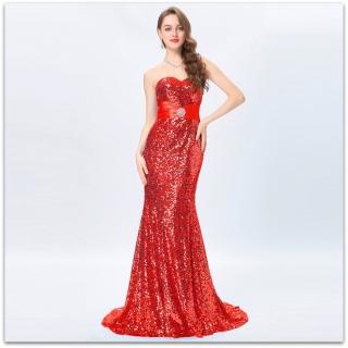 Luxusní společenské ŠATY dlouhé s vlečkou GRACE KARIN GK4409-3 červená M    38 45987a25ad2