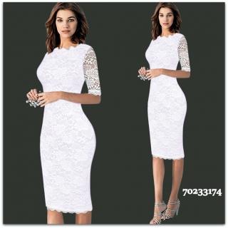 Úzké Krajkové šaty MIDI 80233174-1 bílá S 24e260f190