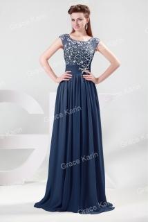 Luxusní plesové šaty GRACE KARIN dlouhé GK CL4473-3 modrá 38 M empty a85a0ba9191
