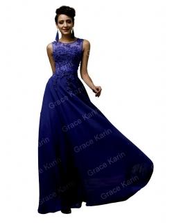 GRACE KARIN luxusní ŠATY dlouhé GK 7555-6 modrá S   M 531c158bab3