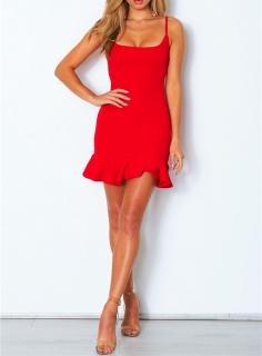 Letní dámské ŠATY na ramínka s volánem 458631-10 červená XL 172ca40eca