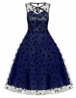 Plesové dámské RETRO ŠATY MIDI 7038075-3 modrá   černá XXL 748fb4e37e