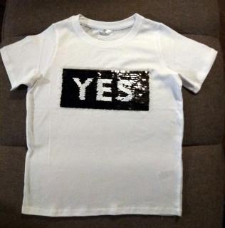 Dětské tričko měnící se flitry Yes No 2018018-1 bílá unisex 134 140 8ffd22f0c1