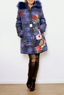 101 IDEES Luxusní dámská prošívaná bunda KVĚTY s kapucí a kožíškem 331822-3  modrá M a1acbaf999c