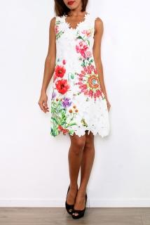 101 IDEES dámské krajkové ŠATY vzor Mandala Květy 331145-1 bílá S M  072b808ad8